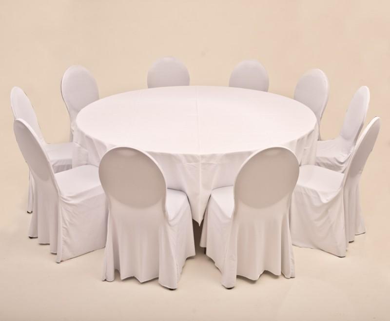 Set Bankett 1x Tisch Rund 180cm Inkl Tuch Weiß 10x Stuhl Mit Husse
